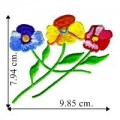 Trio of Multi-Colored Pansies Embroidered Sew On Patch