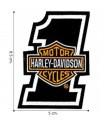 Harley Davidson Orange Bar & Shield Embroidered Iron On Patch