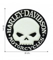 Harley Davidson Motorcycle Chenille Skull Embroidered Iron On Patch
