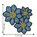 Blue Chiffon Flower Style-4 Embroidered Sew On Patch