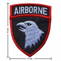 White Airborne Army Embroidered Iron On Patch