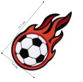Flaming Soccer Ball Embroidered Iron On Patch