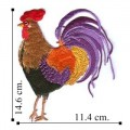 Colorful Rooster Embroidered Iron On Patch