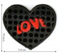 Black Sequin Love Heart Embroidered Iron On Patch
