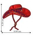 Red Hat Lady Cowgirl Hat Embroidered Iron On Patch