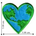 Blue-Green Earth Heart Embroidered Iron On Patch