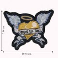 Angel By Day Winged Heart Embroidered Iron On Patch