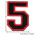 Number 5 Style 1 Embroidered Iron On Patch